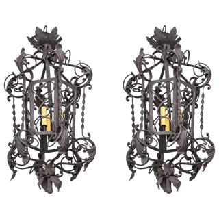 Late 20th Century Vintage Spanish Colonial Style Wrought Iron Chandeliers- a Pair For Sale