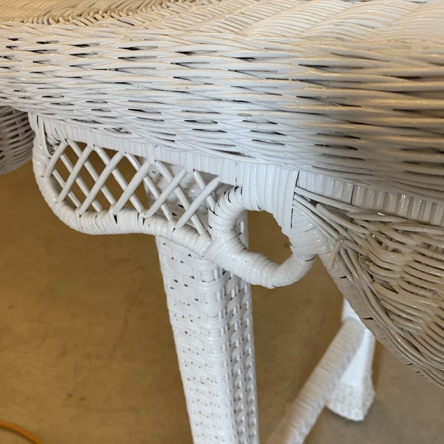 White Asian Style White Wicker Console Table For Sale - Image 8 of 11