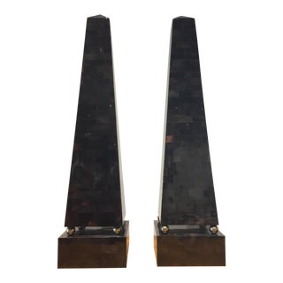 Maitland Smith Tessellated Horn Obelisks - A Pair