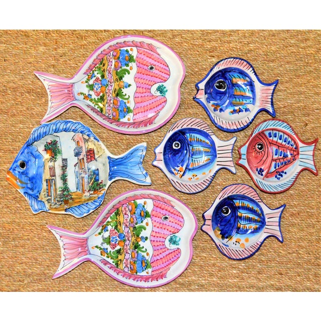 Vintage Collection of Mediterranean Pescado Majolica Dishes - Set of 7 For Sale - Image 4 of 6
