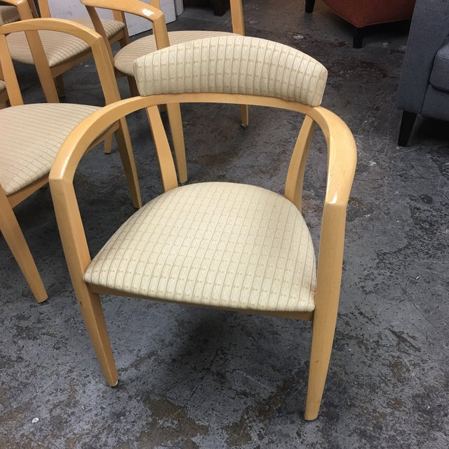 Tan Mid-Century Light Maple Lowenstein Dining Chairs - Set of 7 For Sale - Image 8 of 8