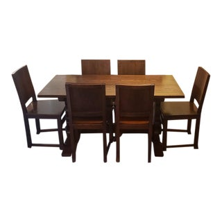 Early 20th Century English Oak Dining Set W/ Table, Chairs & Sideboard C.1920 For Sale