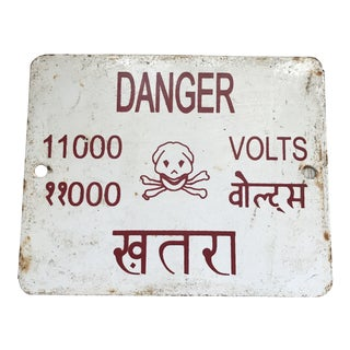 Vintage Indian Danger High Voltage Skull Enamel Metal Sign For Sale