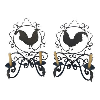 1980s French Iron Rooster Sconces - a Pair For Sale