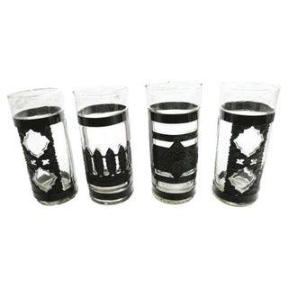 Vintage Metal Geometric Glass - Set of 4 For Sale