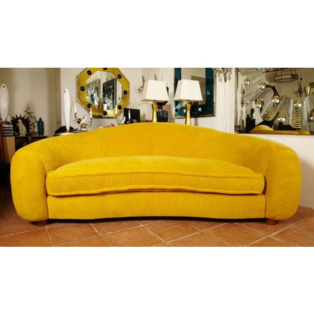 """1950s Jean Royère Genuine Iconic """"Ours Polaire"""" Couch in Yellow Wool Faux Fur For Sale - Image 5 of 11"""
