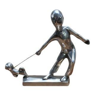 1970s Chris Petersen Designed Aluminum Sculpture of Dog Walker, Signed For Sale
