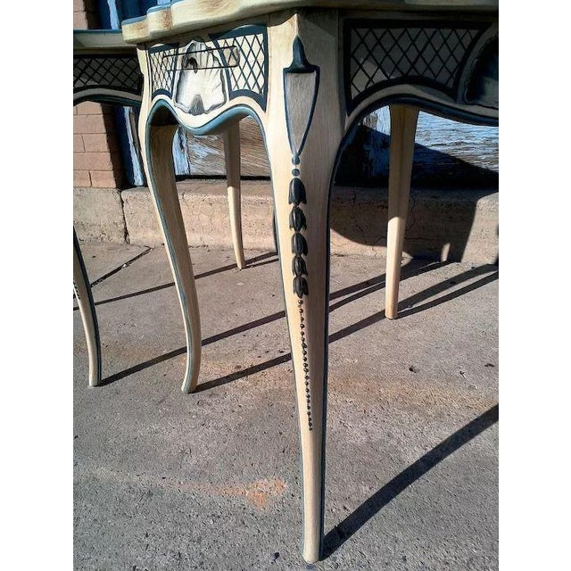 Tea Tables With French Style Paint Cabriole Legs and Candle Slides - a Pair For Sale - Image 9 of 11
