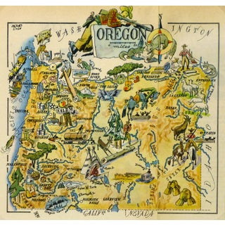 Oregon Pictorial Map, 1946 For Sale