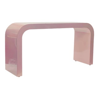 1980s Postmodern Blush Pink Waterfall Console Table For Sale