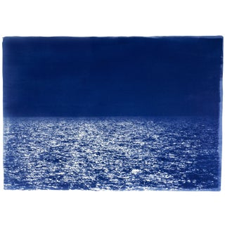 Zen Horizon by the Sea , Cyanotype Print on Watercolor Paper , Limited Edition , 50x70cm For Sale