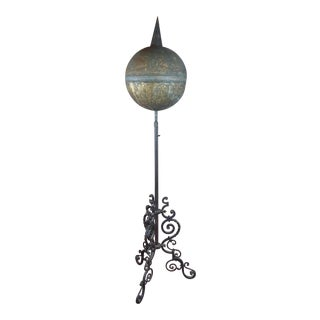 19th Century Antique Brass Globe on Wrought Iron Stand-Outdoor Garden Decor For Sale