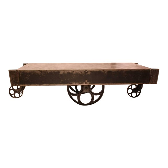 Gray Antique American Industrial Steel Cart Coffee Table For Sale - Image 8 of 8