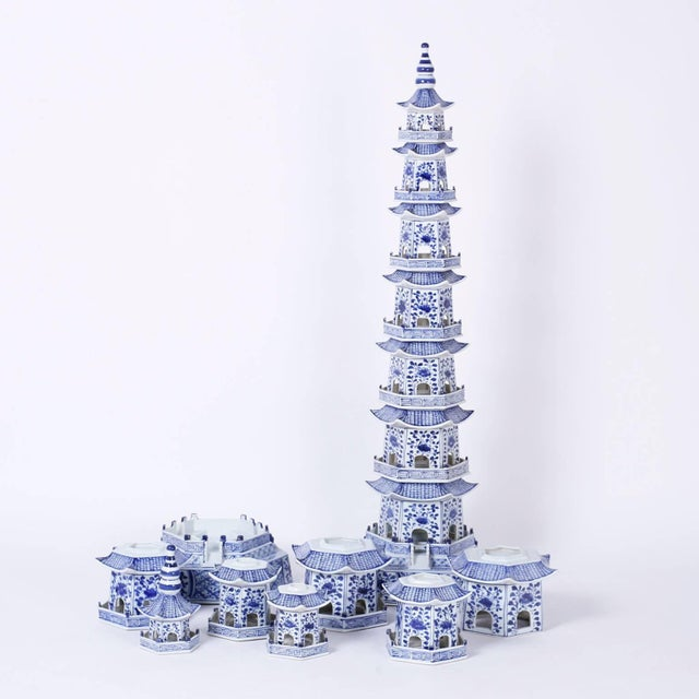 Blue Chinese Blue and White Porcelain Pagodas - A Pair For Sale - Image 8 of 9