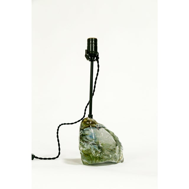 Contemporary Amber Sea Green & Clear Cullet Glass Rock Lamp For Sale - Image 3 of 9
