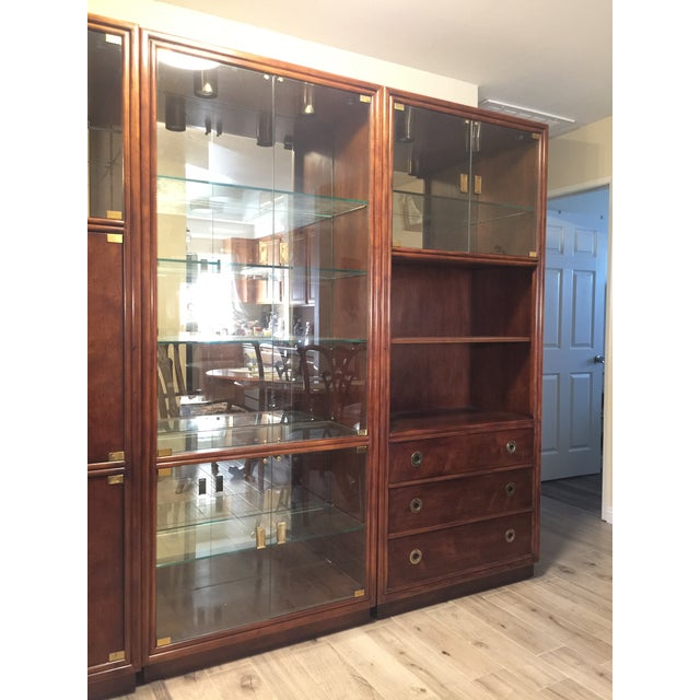 Henredon Henredon Campaign Wall Unit W/ Curio Display Cabinets, Bookshelves and Dual Door Cabinet - 4 Pc. Set For Sale - Image 4 of 13