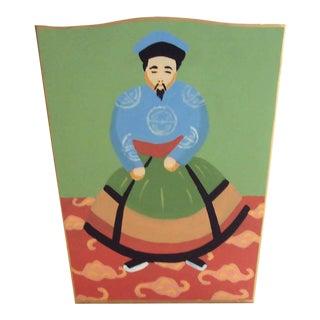 Chinoiserie Dana Gibson Emperor Wastebasket For Sale
