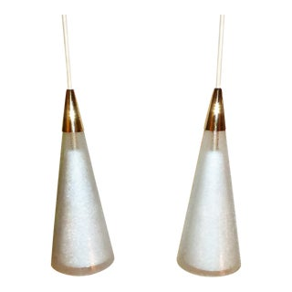 Modern Pair Double Cone Italian Pendants in Glass and Brass. 1950s