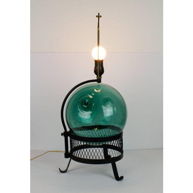 Turquoise Mid-Century Japanese Fishing Float Lamp For Sale - Image 8 of 13