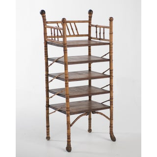 19th Century English Bamboo Oak and Burl Magazine Rack Stand Preview