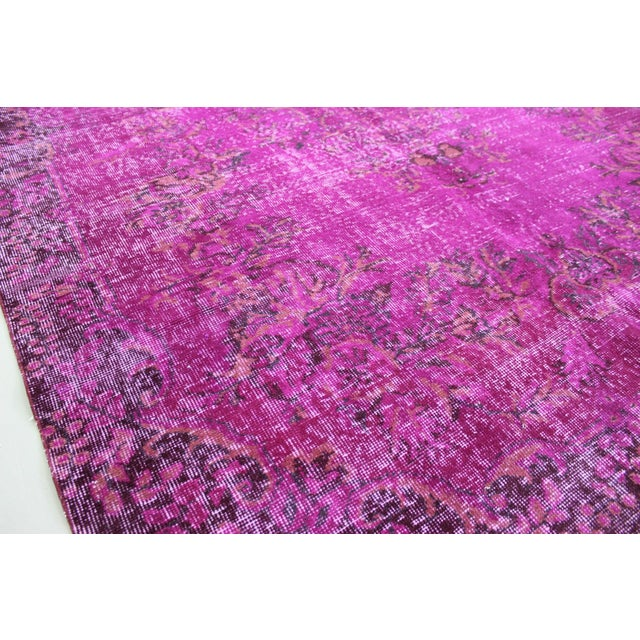"""6'4"""" X 10' Turkish Pink Overdyed Rug For Sale In San Diego - Image 6 of 10"""