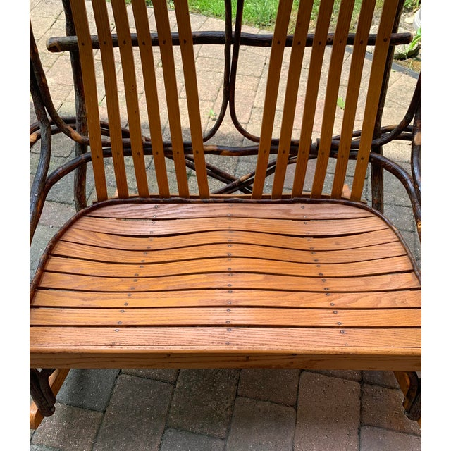 Bentwood and Twig Adirondack Double Vintage Rocking Chair For Sale In Chicago - Image 6 of 13