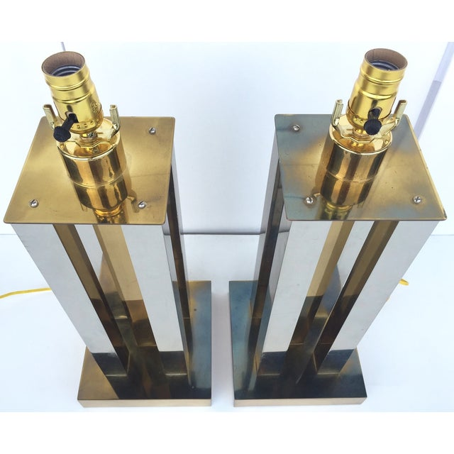 Mid-Century Steel & Brass Column Lamps - A Pair - Image 9 of 9