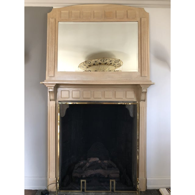 Cinnamon French Country 2 Piece Oak Fireplace Mantel With Oak Framed Mirror For Sale - Image 8 of 8