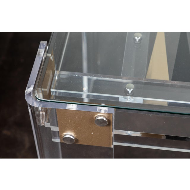 Glass Lucite Backgammon Table in the Manner of Charles Hollis Jones For Sale - Image 7 of 11