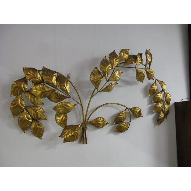 Gold Vintage Mid Century Hollywood Regency Italian Gilded Leaves Wall Sculpture For Sale - Image 8 of 11