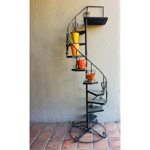 Vintage Wrought Iron Spiral Staircase Plant Stand Garden