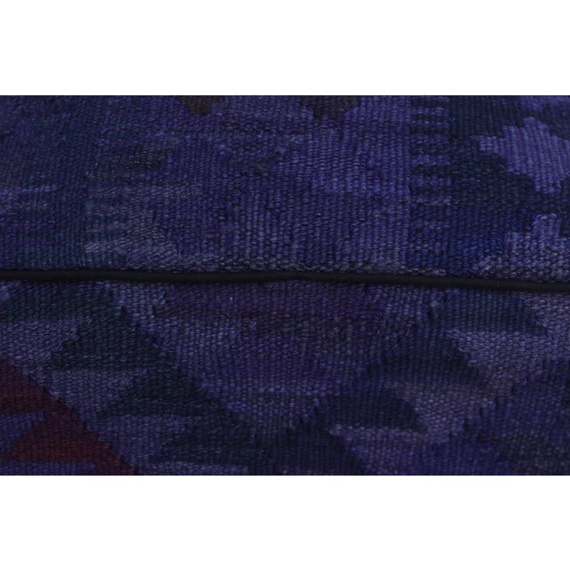 Arshs Delsie Purple/Drk. Gray Kilim Upholstered Handmade Ottoman For Sale In New York - Image 6 of 8