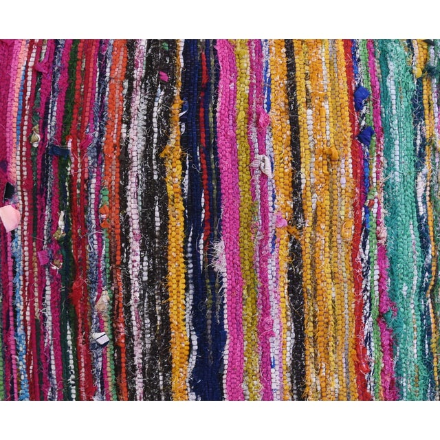 "Abstract Colorful Turkish Striped Rag Rug & Linen Feather/Down Pillow 22"" Square For Sale - Image 3 of 8"