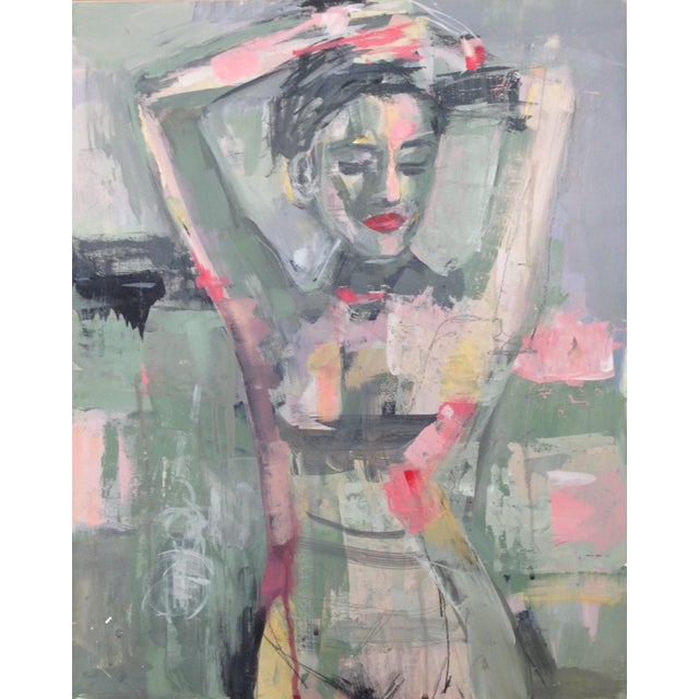 Figurative Framed Figure Mixed Media Painting by Donna Weathers For Sale - Image 3 of 3