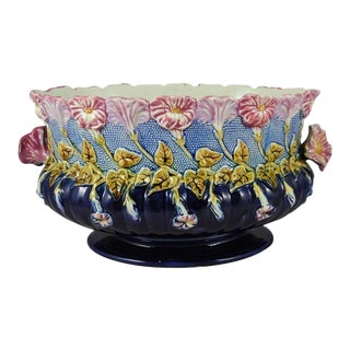 19th Century French Majolica Morning Glory Jardiniere