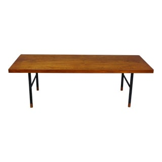 Made in Denmark Coffee Table with Teak Top and Black Metal Base For Sale