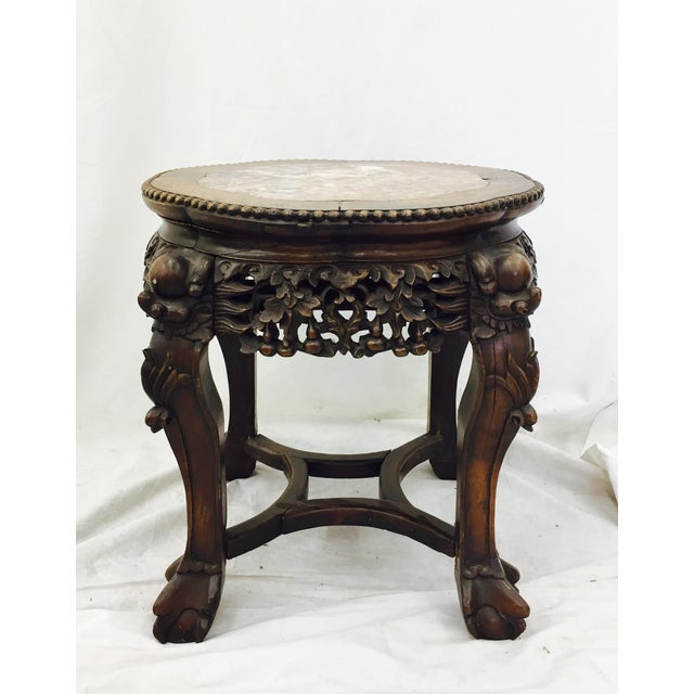 Chinese Carved Rosewood & Marble Table - Image 2 of 11