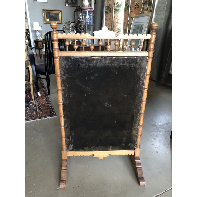 Victorian Circa 1880 Summer Fireplace Screen With Floral Painting and Velvet Screen For Sale In Minneapolis - Image 6 of 13