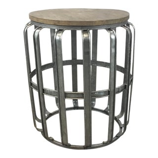 Industrial Modern Reclaimed Wood and Galvanized Steel Accent Table For Sale