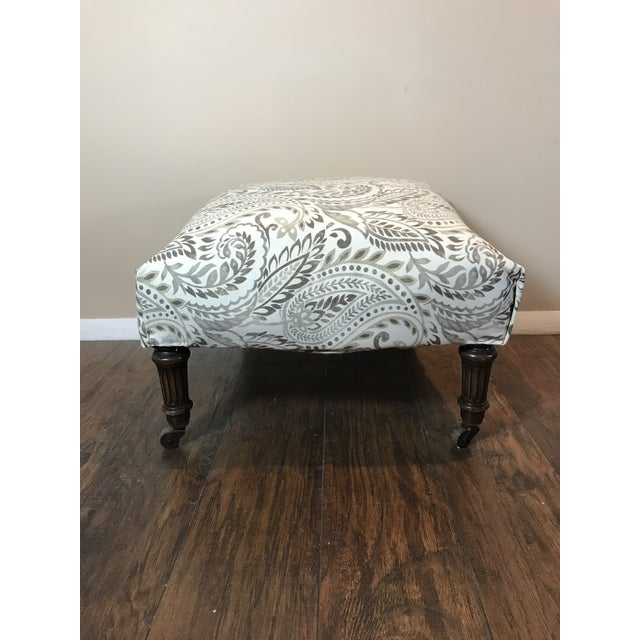 Reupholstered Antique Tan Ottoman For Sale In Washington DC - Image 6 of 6