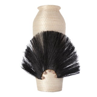 Fanned Out Sisal Vase Large Tall Cream/Black For Sale