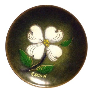 Vintage Studio Copper Enamel Plate, Dogwood Floral Design by M. Ratcliff
