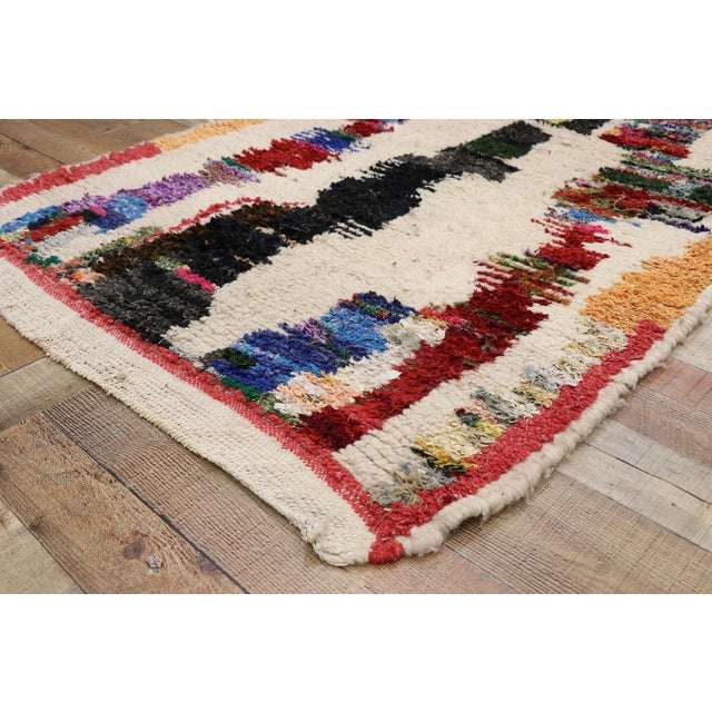Vintage Berber Boucherouite Moroccan Azilal Rug - 03'09 X 07'03 For Sale In Dallas - Image 6 of 10