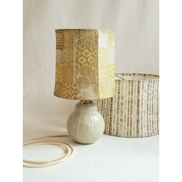 2010s Gray with White Pinstripes Table Lamp For Sale - Image 5 of 7