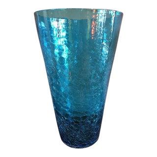 Vintage Blenko Large Crackle Glass Blue Vase For Sale