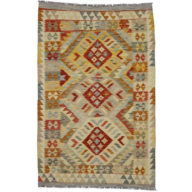 Contemporary 20th Century Boho Chic Afghani Shirvan Kilim Rug With Tribal Style For Sale - Image 3 of 11