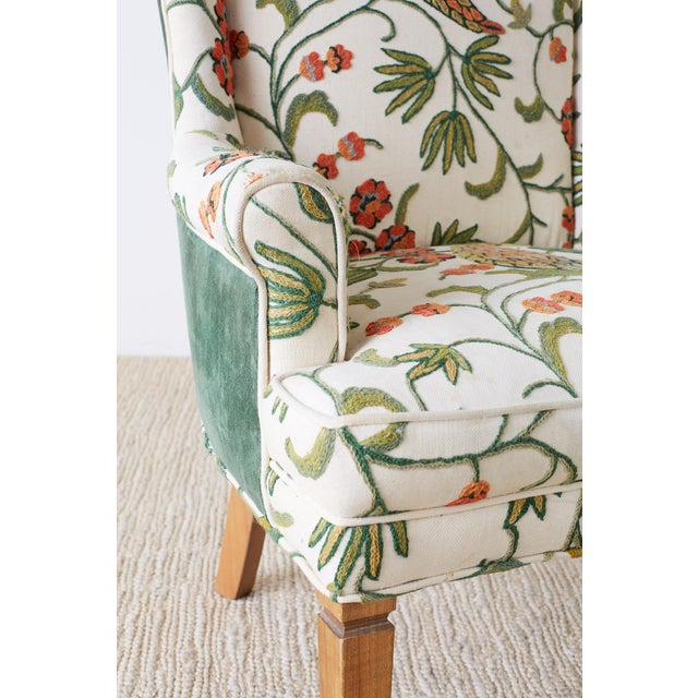 Pair of English Style Crewel Work Wing Chairs For Sale - Image 9 of 13