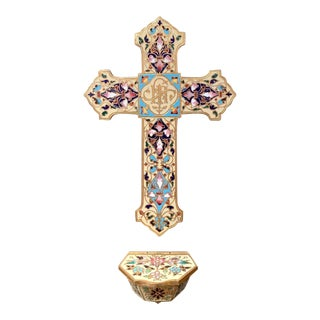 19th Century French Brass & Cloisonné Cross With Holy Water Font on White Marble For Sale