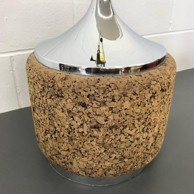Mid-Century Modern Cork & Chrome Lamp For Sale - Image 6 of 11
