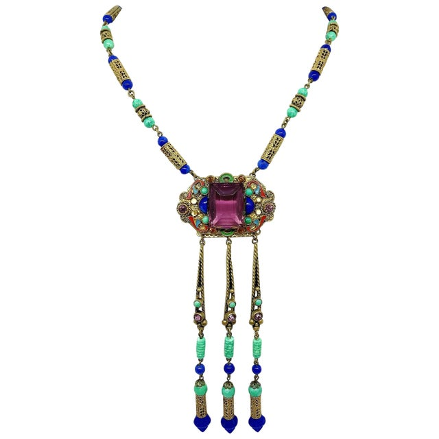 1920s Czech Egyptian Revival Pendant Necklace For Sale In Los Angeles - Image 6 of 6